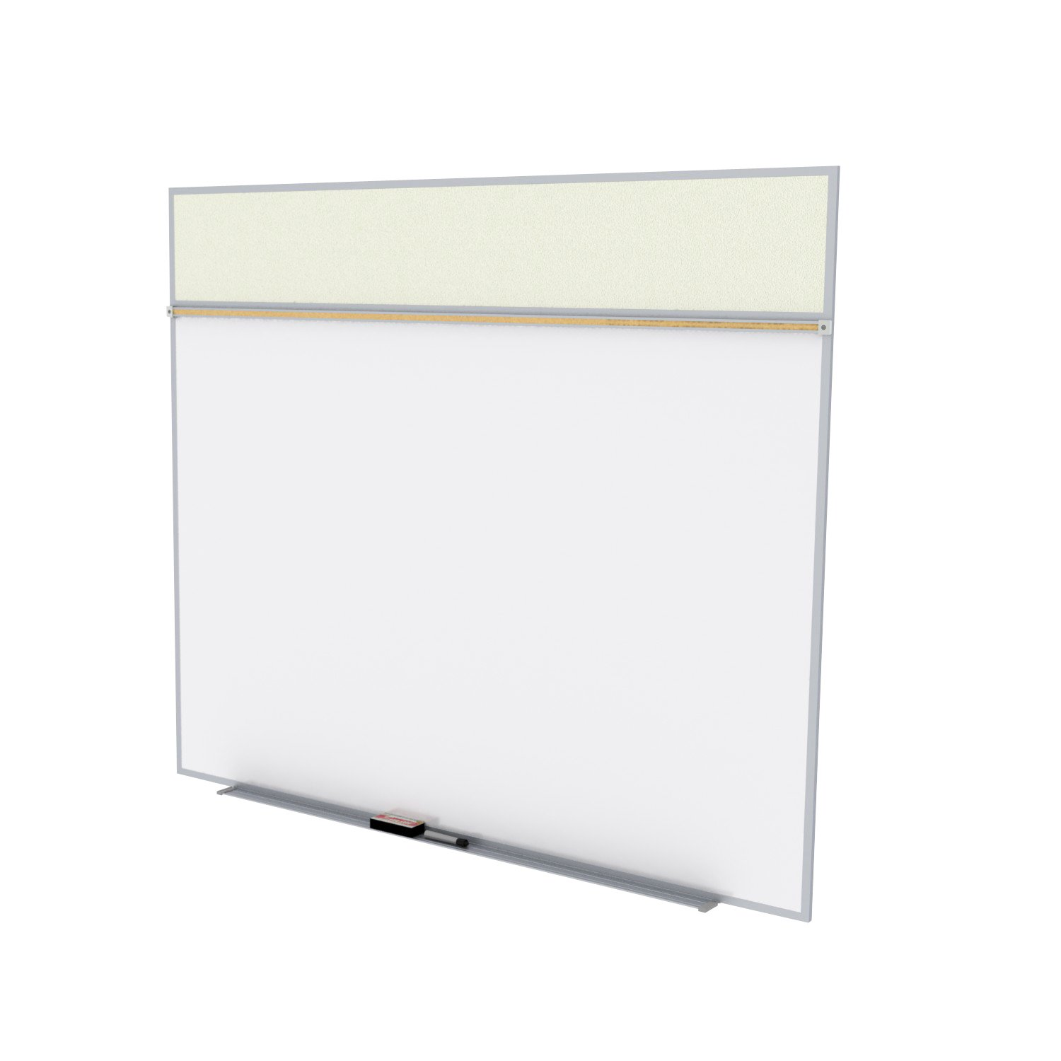 Ghent 5 x 8 Feet Combination Board, Porcelain Magnetic Whiteboard and Vinyl Fabric Bulletin Board, Ivory , Made in the USA