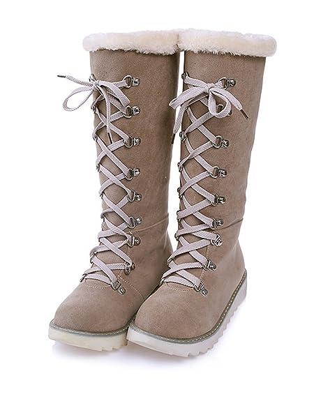 Mujer Otoño Invierno Cálido Peluche Forrada Botas De Nieve Confortable Encaje Botines Anti-Deslizante Zapatos Planos: Amazon.es: Zapatos y complementos