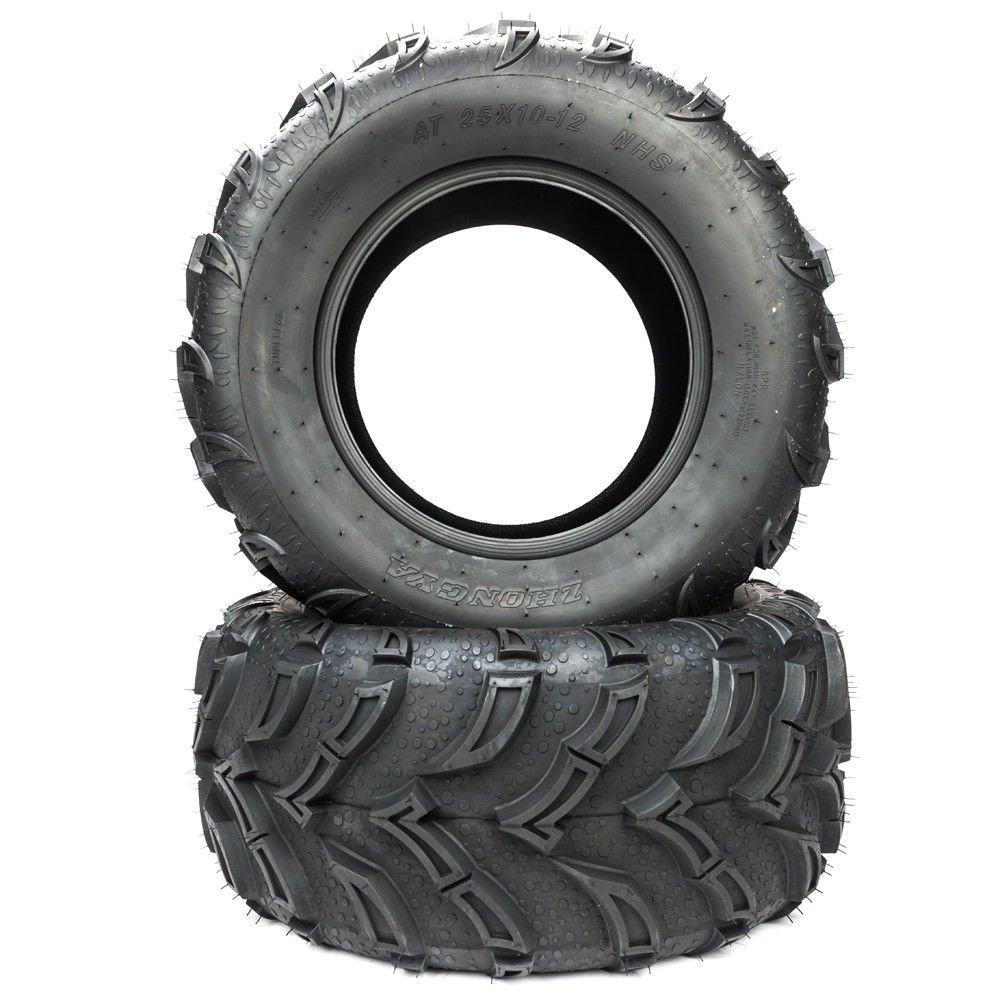 Pair ATV UTV Tires Size 25x10-12 25/10-12 6 Ply Rated Rear Tire P377