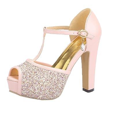 YE Damen Peeptoe Riemchen Sandalen Blockabsatz High Heels Sandaletten Plateau mit Schnalle Elegant Schuhe