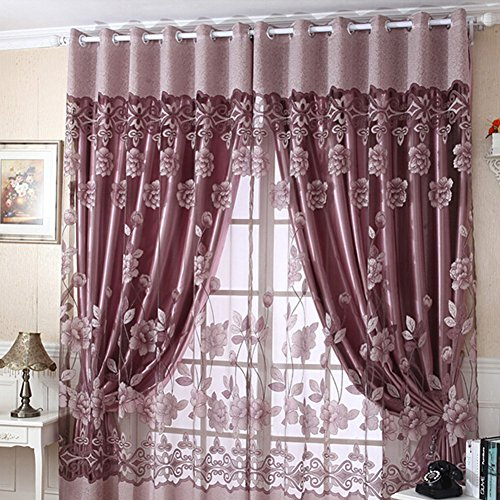 Fedi Apparel Flower Tulle Door Window Drape Panel Sheer Scarf Valances Curtains 250cm x 100cm