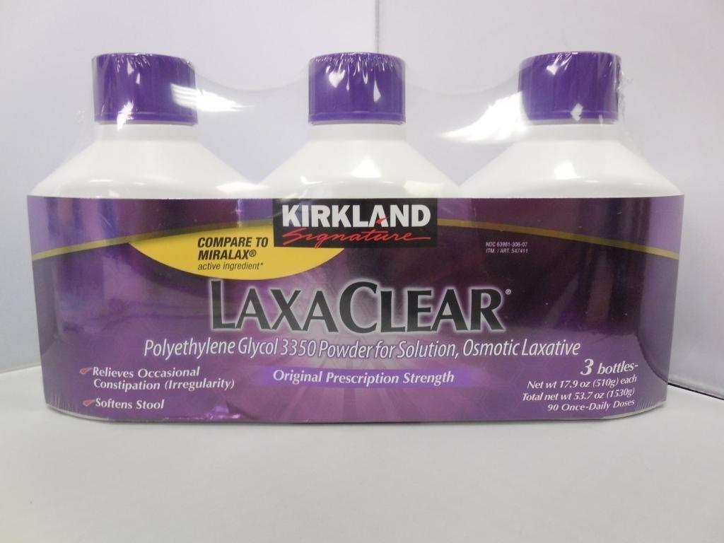 3 Wholesale Lots Kirkland Signature LaxaClear, 9 Bottles Total