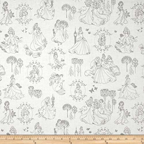 Disney Princess Toile Stone Fabric By The Yard