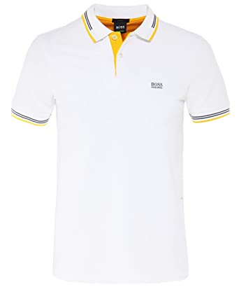 61e8a2a5f Hugo Boss Paul Slim Fit Stripe White Polo XXL White at Amazon Men's Clothing  store: