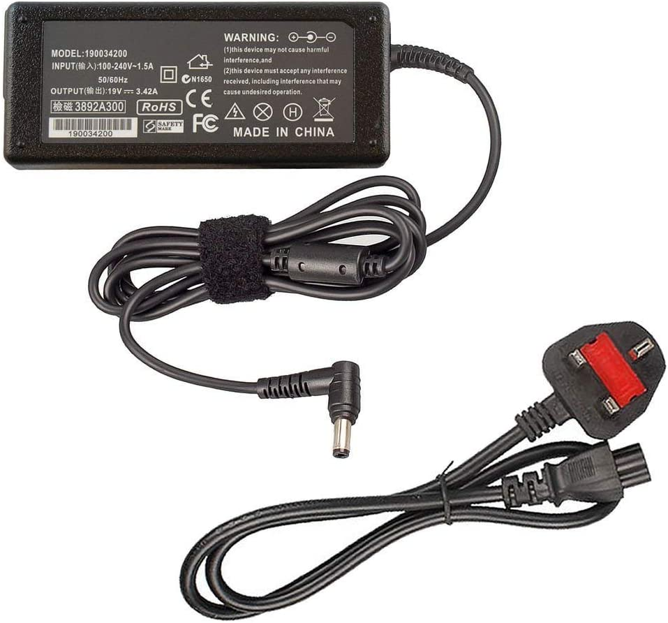 AD883220 PA-1650-78 EXA1203YH ADP-65GD B Notebook UK Power Supply 19V 3.42A 65W Laptop Charger for ASUS N17908 V85 Fits ASUS X751S X550C X401A X552C K53S K53E U52F U56E AC Adapter