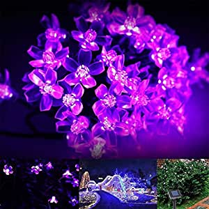 AMAZENAR 1-Pack,Purple 22ft 6.8m Outdoor Solar String Lights,50LED Fairy Peach Blossom Lights Decorative Lighting for Indoor, Garden, Home, Patio, Lawn, Party Christmas Decorations