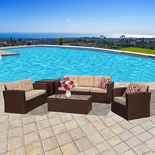 PATIOROMA Outdoor Furniture Sectional Sofa Set (8-Piece Set) All-Weather Brown Wicker with Beige Seat Cushions & Glass Coffee Table & Wiker Storage Box| Patio, Backyard,