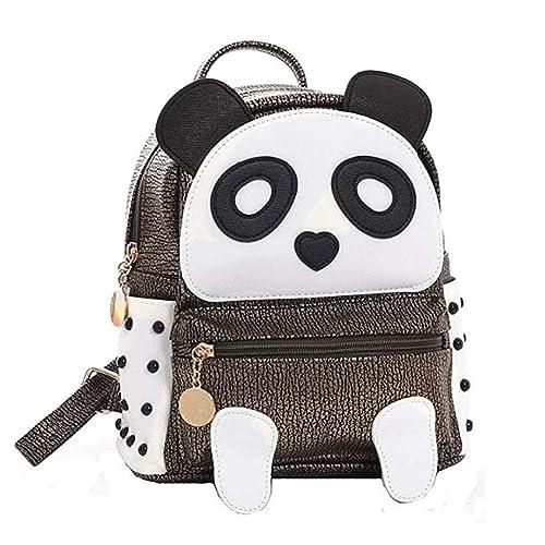 BAG WIZARD Fashion Cute PU Rivet Mini Casual Style Panda Backpack for Girls  Brown 3c2cf56ebfa28