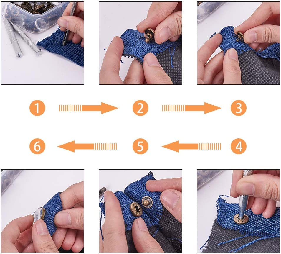 Jeans 3 Size Leather Snaps for Clothes 30 Sets Snaps Fasteners Cabochon Setting Blank with Cabochons PandaHall Elite Snap Button Cabochon Settings Kit Bags 3 Installation Tools Jackets