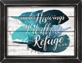 Under His Wings Find Refuge Psalm 91:4 Blue Feathers 14 x 18 Weathered Black Framed Art Wall Sign