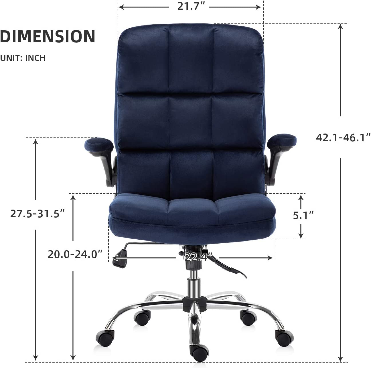 chaises dordinateur avec rembourrage /épais pour plus de confort et de design ergonomique pour le soutien lombaire YAMASORO Chaise de bureau avec accoudoirs rabattables pour la maison