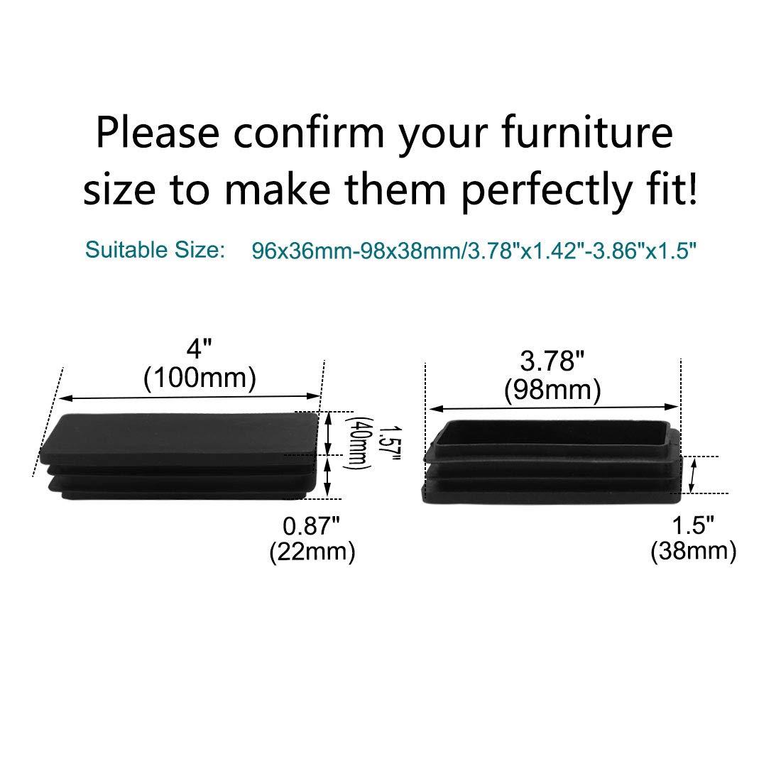 Juego de 8 tapones rectangulares de pl/ástico 40 x 100 mm Sourcingmap