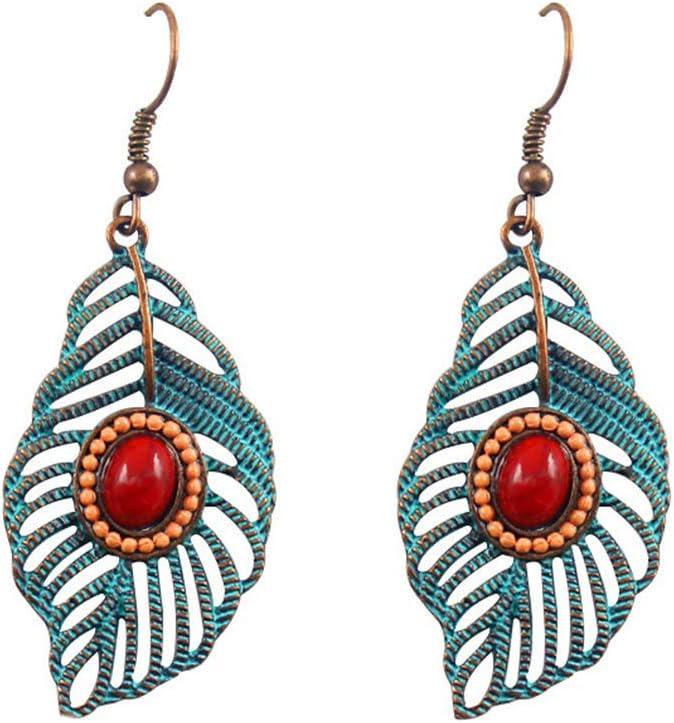 Hoja a cielo abierto de la vendimia pendientes del oro y de piedras preciosas de dos tonos-recorte tallado Hoja Hoja de imitación de la turquesa cuelga el gancho pendientes joyería de las mujeres, Nom