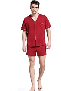 9488df3847 Yanqinger Men Luxury Sleepwear Silk Pajamas Set Soft Polyester Short ...