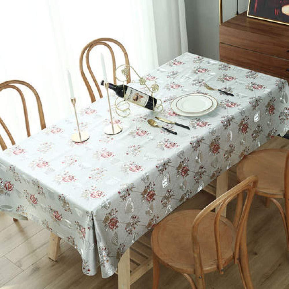 WJJYTX tischdecke Plastik, Modern/Protector Textile Backing Runde rechteckige Tischdecke Heißprägen grau @ 140 * 200