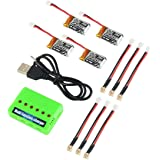 4pcs 1S 3.7V 220mAh LiPo Battery 35C with 6 in 1 Charger and Cable for E010 JJRC H36 NIHUI NH010 GoolRC T36 Holystone…