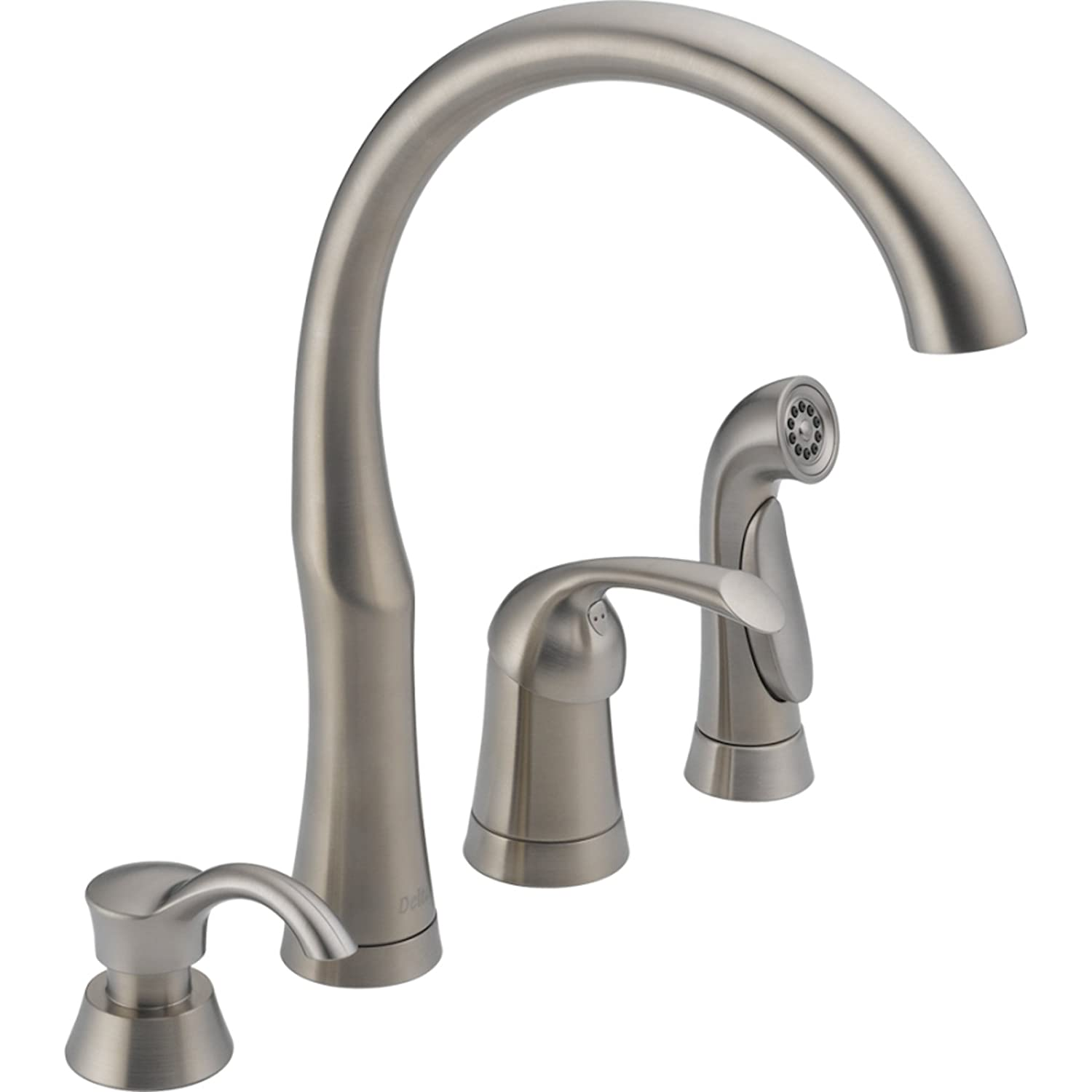 Delta 11946-SSSD-DST Bellini Single Handle Kitchen Faucet with Spray and Soap Dispenser, Stainless