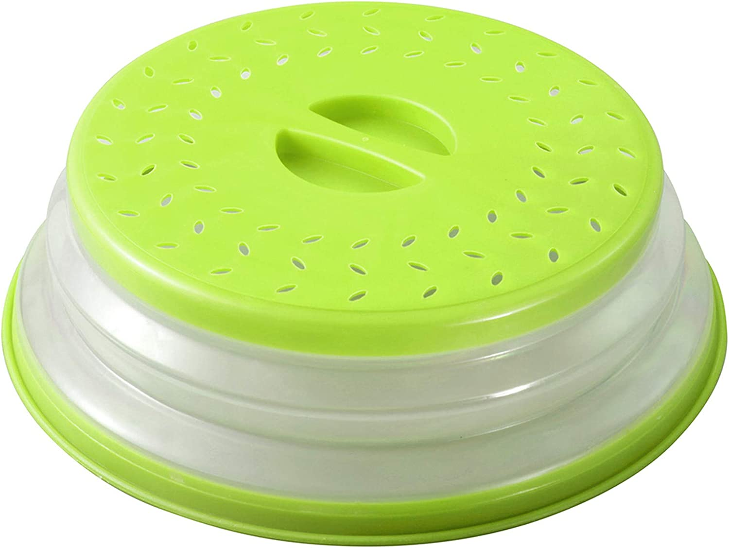 Microwave Plate Cover 10.5 inch Collapsible Microwave Cover for Food,Splatter Proof Guard Plate, Fruit and Vegetable Dish Drainer Basket,BPA-Free,Easy Grip (Green)