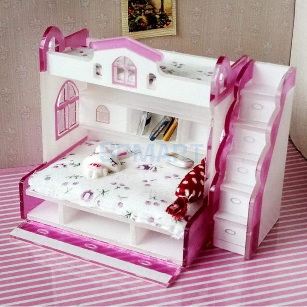 1/12 modelo en miniatura cama doble camarote para casa de muñecas Mobiliario de dormitorio Vida Scenesfor la decoración del hogar: Amazon.es: Hogar
