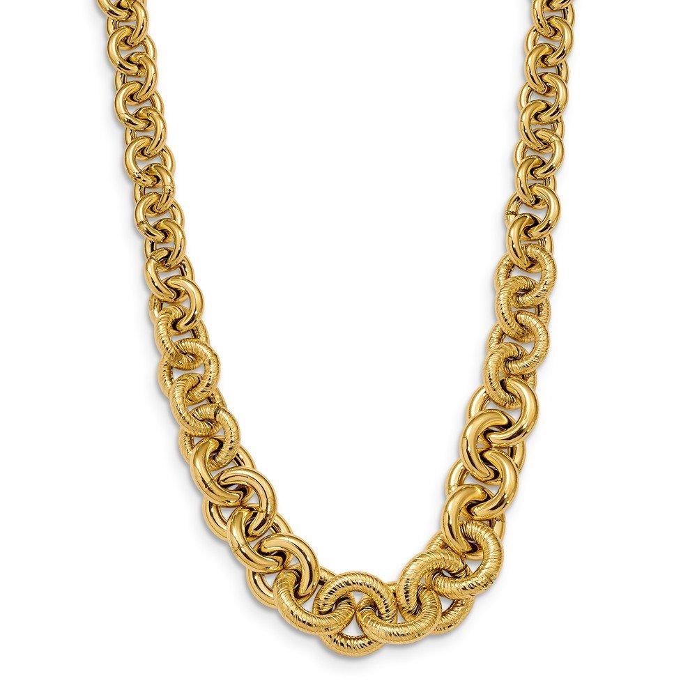 10.6 mm 14 ct poliert Fancy Link Halskette – 46 cm