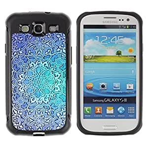 WAWU Funda Carcasa Bumper con Absorci??e Impactos y Anti-Ara??s Espalda Slim Rugged Armor -- fractal flower blue teal repetitive pattern -- Samsung Galaxy S3 I9300