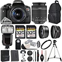 Canon T6i Digital SLR Camera with Canon EF-S 18-55mm f/3.5-5.6 IS STM Lens + WRIST GRIP + PRO FLASH + 64GB - All Original Accessories Included - International Version