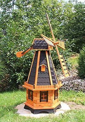 Grandes Windmühlen, molino de viento madera tratadas tipo 23.1 y solar Iluminación: Amazon.es: Jardín