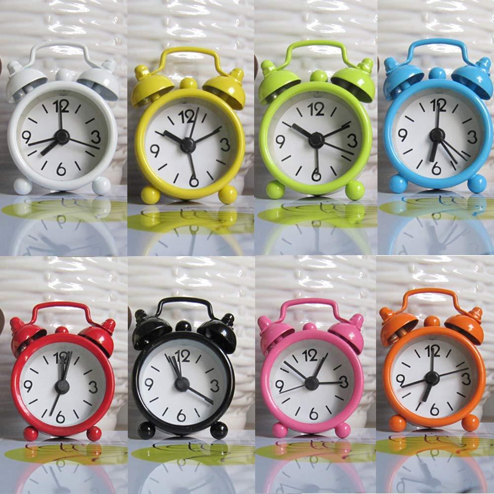 Bureau R/éveil Classique sans Tic-Tac R/étro Simple Sonnette Portable Mini Cartoon Cadran Num/éro Rond Table de Chevet R/éveil Rose 6.3 * 4.7 * 1.9 cm