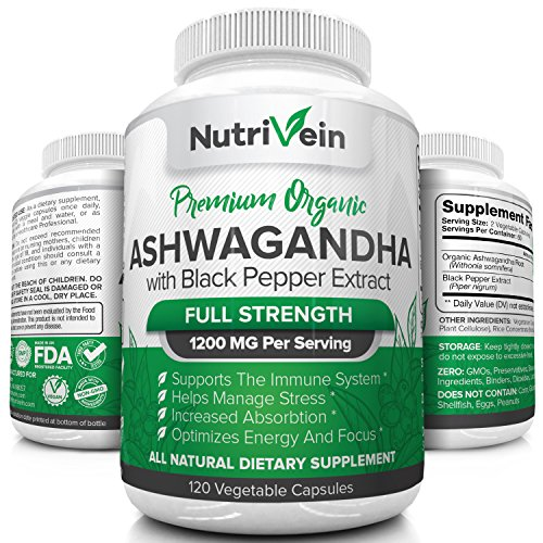 Nutrivein Organic Ashwagandha Capsules 1200mg - 120 Soft Vegan Capsules with Black Pepper Extract - 100% Pure Organic Root Powder Supplement For Stress Relief, Anxiety & Adrenal Support - Mood Enhance