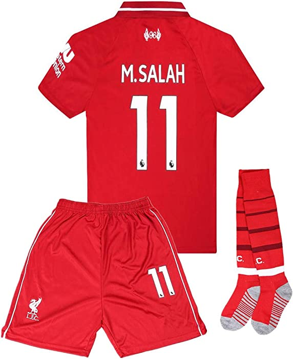 Amazon.com  Salah 11 Liverpool Home Kids Socce Jersey 2018 2019  Season.Matching Shorts e3822c439