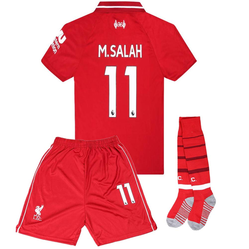 Salah 11 Liverpool Home Kids Socce Jersey 2018//2019 Season.Matching Shorts,Socks.Color Red Size 7-8Years
