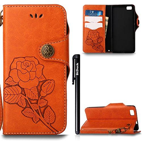 Hülle für Huawei P8 Lite,[Nicht für P8] Hülle für Huawei P8 Lite Retro Blume Frauen,BtDuck Ultra Slim Tasche Vintage Brieftasche Handyhülle Ledertasche Flip Cover Schutzhülle für Huawei P8 Lite Cover  Huawei P8 Lite-Orange