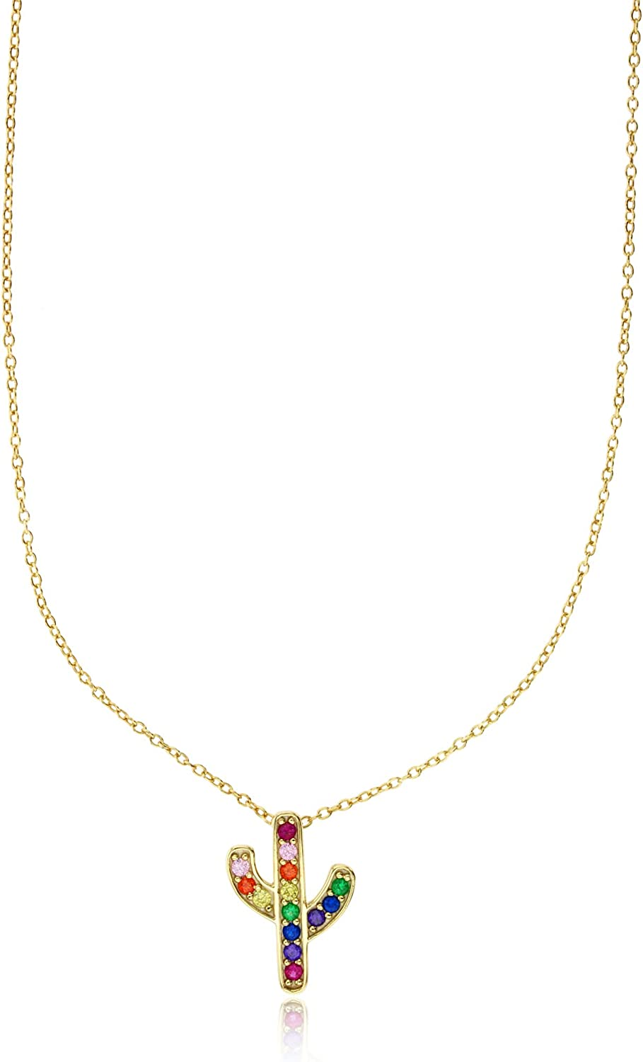 Sterling Silver Yellow Multi Color Cubic Zirconia Cactus 16+2 Necklace