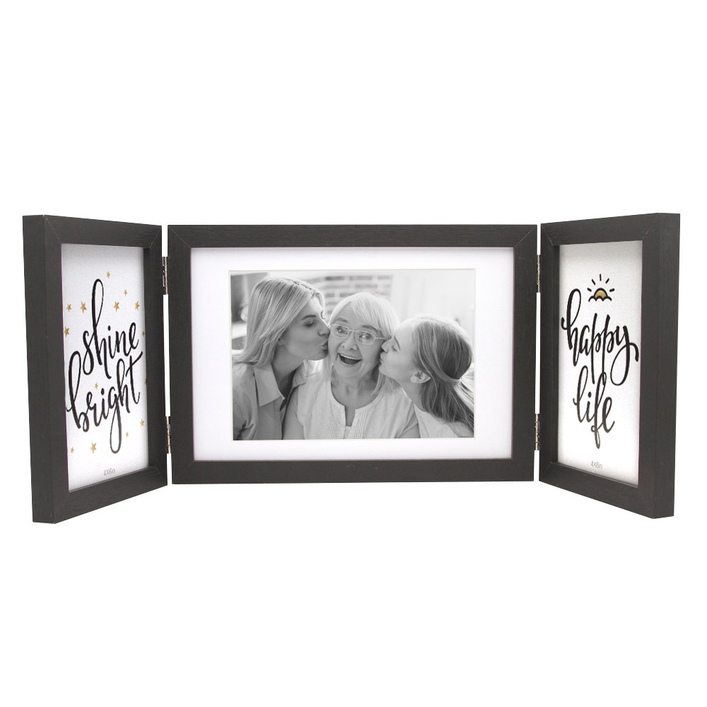 Afuly Three Picture Frame 4x6 And 5x7 Black Collage Hinged