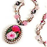 Sweet Romance Painted Rose Locket Necklace