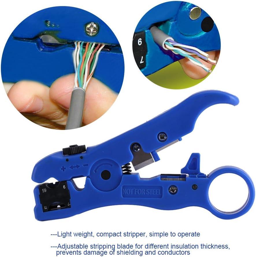 Herramienta universal del cortador del arrugador del cable coaxial del pelacables del cable para el alambre de RG59 RG6 RG7 RG11
