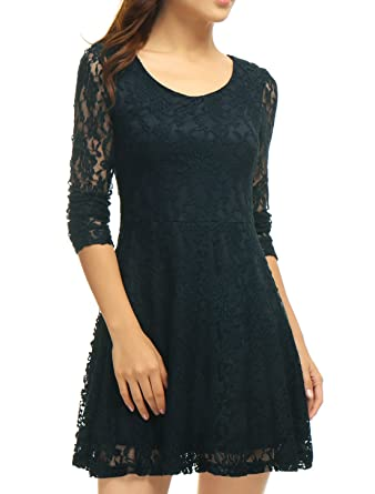 Allegra K Women s Scoop Neck Sheer Long Sleeves Floral Lace Mini Skater  Dress - Small - e9a4c8977