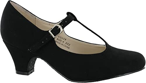 T-Bar Width Fittings Black Shoes Wide