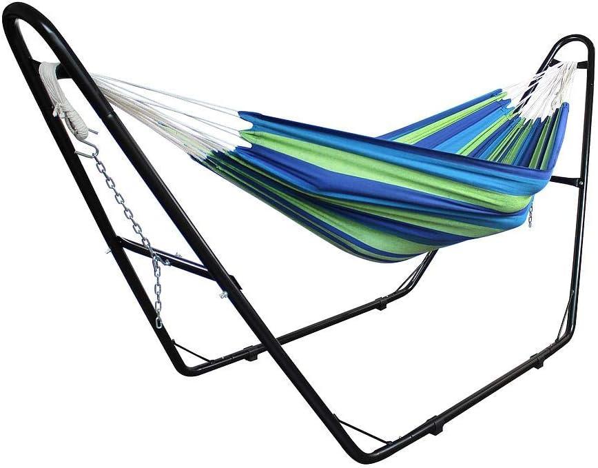 Alto: Ajustable Todeco Hamaca Algod/ón Verde//Azul con Soporte Tipo-H Brasile/ño Capacidad: para 2 Personas Cama Colgante