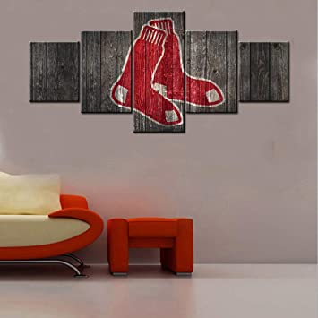 Boston Red Sox Barnwood Style Five Piece Framed Canvas Home Decor Wall Art 5