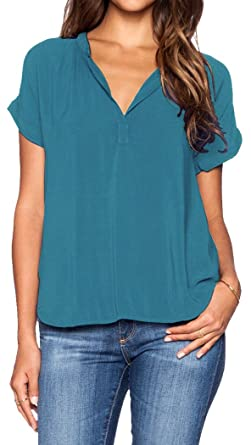 7e57ed5c54065c LILBETTER Women's Casual Chiffon Loose V Neck Fold Short Sleeve Beach Tops  Blouse Shirt (Blue