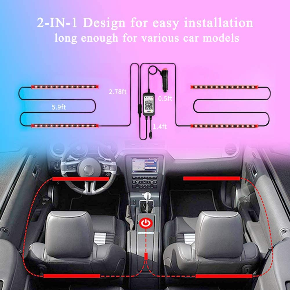 Car Strip Lights,48 LED Multicolor Music Upgraded 3-in-1 Design Interior Car Lights Car Lighting Kits support Sound Active Function APP Controller and Remote Control,Car Charger Included DC 12V