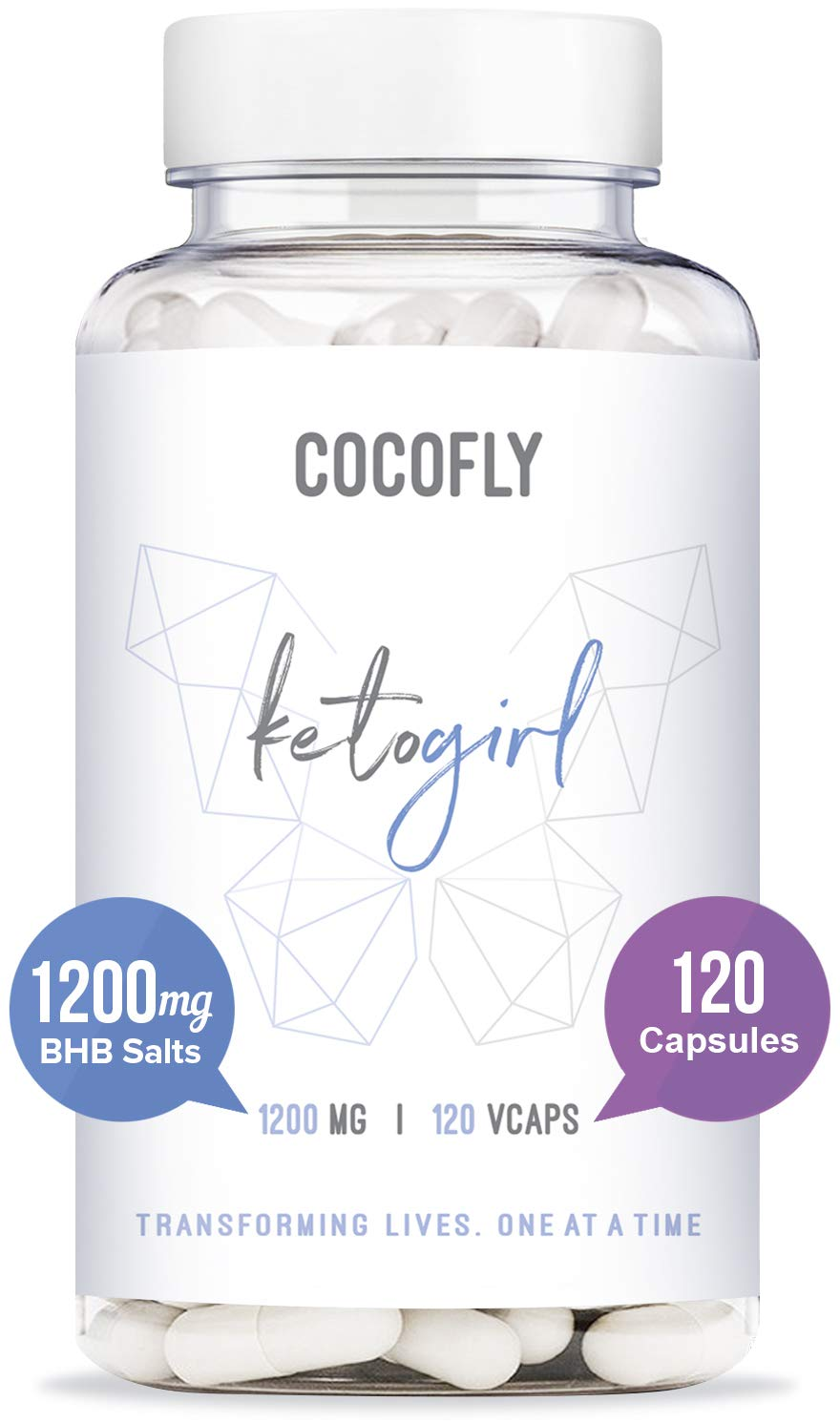 COCOFLY KetoGirl Ultra Keto Pills - 1200 mg, Rapid Fat Burners for Women, 120 Pure Capsules, Super Fast Ketosis, Enhanced BHB Salts, 6X Advanced Weight Loss Supplement, Exogenous Ketones, Slim Boost by COCOFLY