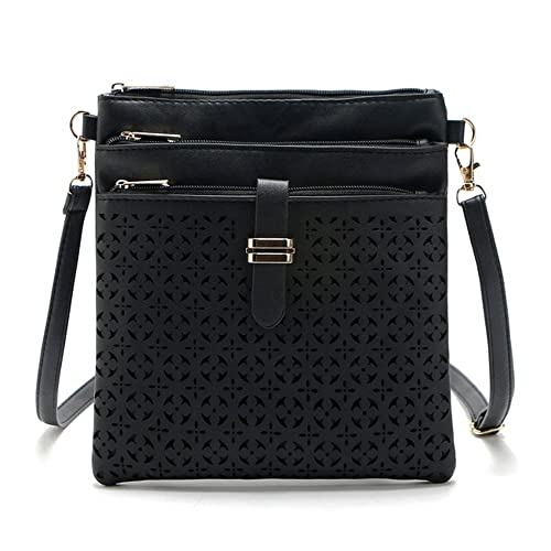 7938575cdbf Image Unavailable. Image not available for. Color  DukeTea Multi Pockets  Medium Crossbody Purse, Faux Leather Crossover Shoulder Bag for Women Black