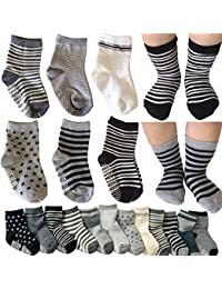6 Pairs Assorted Non Skid Ankle Cotton Socks Baby Walker Boys Girls Toddler Anti Slip Stretch Knit Stripes Star Footsocks Sneakers Crew Socks with Grip for 16-36 Months Baby