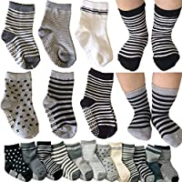 Kakalu 6 Pairs Assorted Non Skid Ankle Cotton Socks Baby Walker Boys Girls Toddler Anti Slip Stretch Knit Stripes Star Footsocks Sneakers Crew Socks with Grip for 16-36 Months Baby