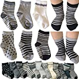 Kakalu® 6 Pairs Assorted Non Skid Ankle Cotton Socks Baby Walker Boys Girls Toddler Anti Slip Stretch Knit Stripes Star Footsocks Sneakers Crew Socks With Grip For 16-36 Months Baby + Free Gift