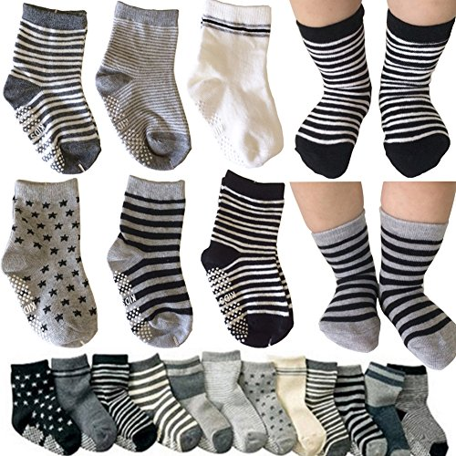 Kakalu 6 Pairs Assorted Non Skid Ankle Cotton Socks Baby Walker Boys Girls...