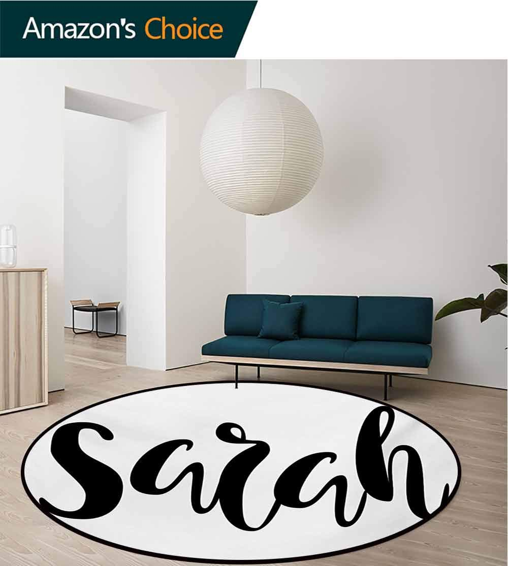 RUGSMAT Sarah Modern Machine Round Bath Mat,Monochrome Popular Female Name Modern Calligraphy Hand Drawn Signature Lettering Non-Slip No-Shedding Kitchen Soft Floor Mat,Diameter-59 Inch by RUGSMAT (Image #1)