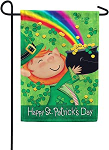 Custom Decor Lucky Leprechaun St.Patricks Day - Garden Size, Decorative Double Sided, Licensed and Copyrighted Flag - Printed in The USA Inc. - 12 Inch X 18 Inch Approx. Size